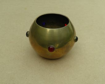 Candle Holder/Bowl - Brass - Coloured Glass - Vintage Brass