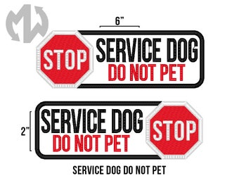 "Service Dog DO NOT PET 2"" x 6"" Patch with Stop Sign"