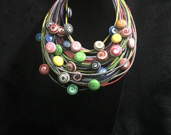 Recycled multi-strand necklace