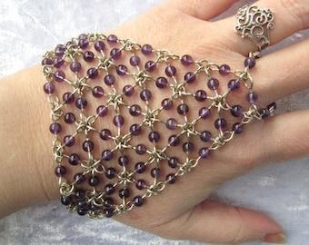 Purple handmade top and metal bench - Amethyst, gemstones, gems