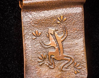 Heat treated copper pendant with etched frog design on black cotton cord