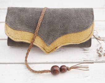 Leather tobacco bag - tobacco pouch - suede leather pouch - leather purse - tobacco Organizer - recycled Leathe