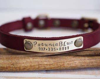 Dog Collar, Small Dog Collar, Collar Leather, Leather Collar, Personalized Collar, Cat Collar, Personalized Cat Collar, Colors collar