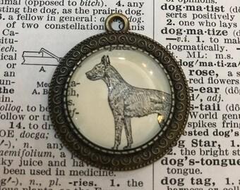 Handmade Vintage Dictionary Dog Necklace - Great Dane