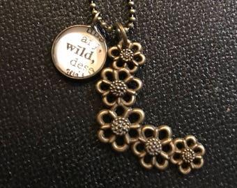 Bronze Flower Chain Charm Necklace