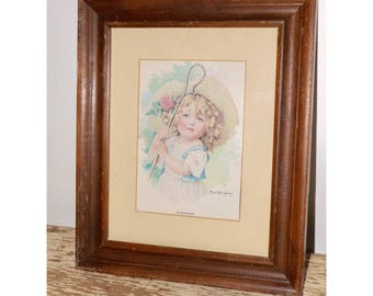 Little Bo Peep framed print,Maud Humphrey,glass front,12x10,nursery wall decor,little girls room decor,nursery rhyme decor,childrens room
