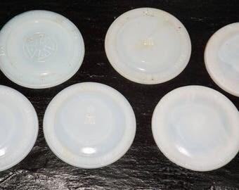 White porcelain canning jar lid inserts,set of 6,Boyds cap,H over A,glass canning jar lid,fruit jar lids,canning supplies,canning jar liner