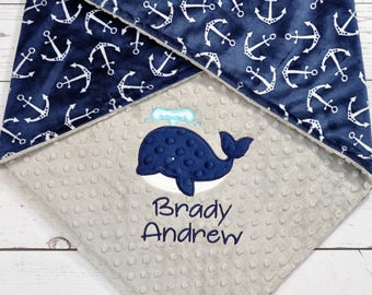 Personalized Baby Blanket-Anchor Minky Baby Blanket-Anchor Nautical Blanket-Whale Minky Blanket-Anchor baby Blanket-Whale baby blanket