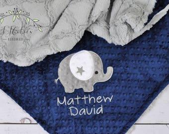 Personalized Elephant Minky Baby Blanket-Elephant baby blanket-Personalized Baby Minky blanket-Minky Elephant Blanket-Boy Girl baby blanket
