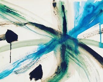 Limited Edition Fine Art Print, Giclee, Black and Blue, Abstract Art, Original Watercolor Painting