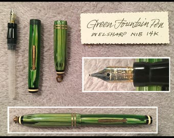 Restored Green Marblized Chatelaine-type Necklace Fountain Pen