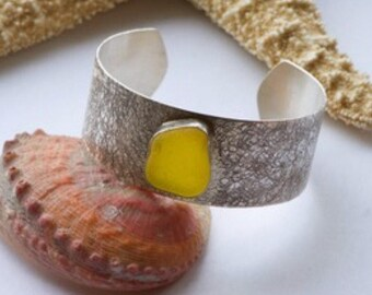 Yellow sea glass sterling silver cuff bracelet