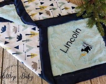 Navy Woodland-Bear Personalized Minky Baby Blanket-boy shower gift