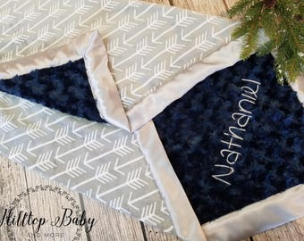 Personalized Navy baby Boy Blanket-Woodland baby shower gift- Arrow New baby gift