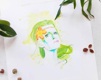 """Originale Malerei von Buttafly (Vanessa Brünsing) - Nature Girl - 2015 -  42 x 56 cm - 16,53"""" x 22,05"""" - Kunstwerk"""