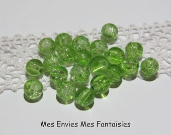20 6mm Green cracked glass beads