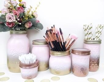 Gold Pink mason jar, gold decor, pink makeup brush holder, rose gold desk accessories, gold dressing table, blush pink makeup organiser