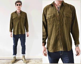 Dark Olive Green Corduroy Button  Up Shirt
