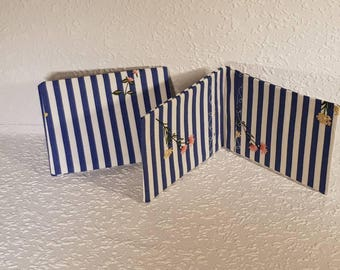 Handmade fabric oyster card holder/ travel card holder/ business card holder/ debit or credit card holder - blue and white stripes