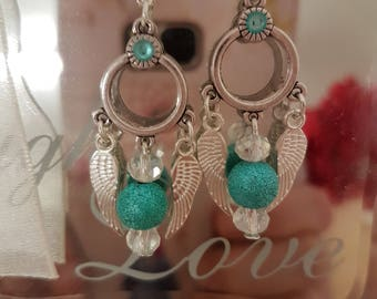 NEW turquoise sparkle Angel wing earrings with Austrian crystal