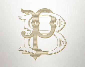 Vintage Wedding Monogram - BP PB - Wedding Monogram - Digital