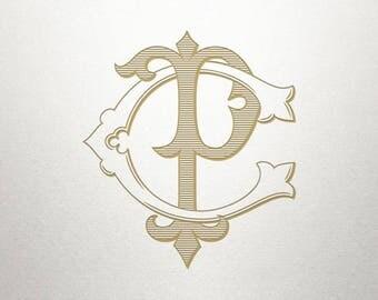 CP Monogram, PC Monogram, Wedding Logo Design, Digital Monogram, Custom Wedding Monogram, Custom Wedding Logo, Vintage Monogram