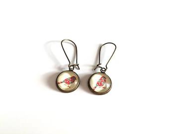Earrings Cabochon bird flower - Bronze
