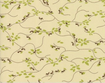 Lucky Day Ant Farm in Natural Cream Cotton Fabric by Momo for Moda, Japanese Fabric, Ants