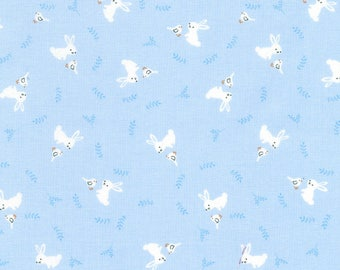 """End of Bolt, Blue Bunny from the Storybook Forest Collection from Timeless Treasures, Bunnies, Baby Fabric, Nursery Fabric 15""""x44"""""""