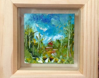 acrylic mini painting in box frame
