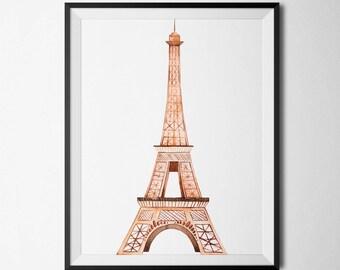 Eiffel Tower Printable Eiffel Tower Gold Foil Paris France Nursery Art Eiffel Tower Wall Art French Wall Art French Poster French Decor Gold