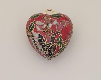 Beautiful Cloisonné Heart Pendant