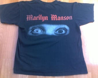 Vintage Marilyn Manson t-shirt 90s concert tour shirt 1990s authentic merchandise heavy metal punk rock size L Large