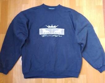 Bullrot Wear sweatshirt, blue vintage hip hop shirt, old school 90s hip-hop clothing, streetwear, gangsta rap, hoodie, cotton, size L Large