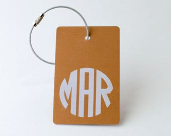 Copper Monogram Luggage Tag - FREE SHIPPING, Copper Monogram Luggage Tag, Luggage Tag, Custom Luggage Tag, Custom Gift, Monogram Gift