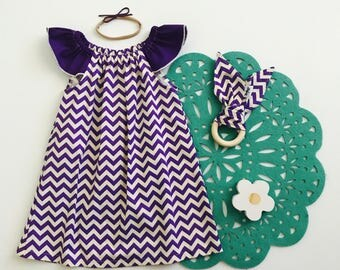 1- Flutter Sleeve Dress- Purple Chevron