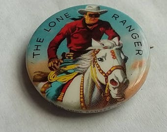 Vintage Colorful Pin Back Button The Lone Ranger Westerns 60's TV