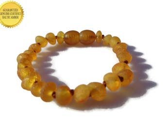 RAW Baltic Amber Teething Bracelet, Amber Baby Bracelet, Real Honey Amber Beads, Amber for Teething Pain, Eczema, Drooling, *SAFETY KNOTTED
