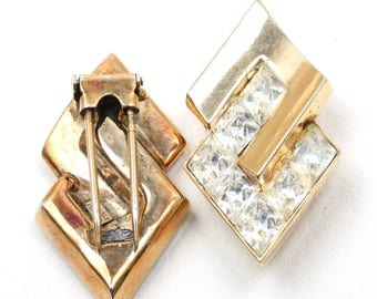 Vintage Trifari Modernist Gold and Rhinestone Fur Clips and Earrings Set, 1940s