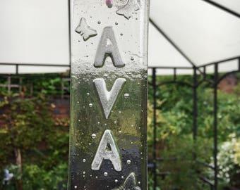 Sun Catcher, Fused Glass, Personalised glass, Glass Art, Home Decor, Birthday Gift, New Baby Gift, Christening Gift