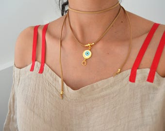 Evil eye - Lucky charm Wrap Choker Necklace, Gold charm necklace, Leather Suede Tie Up Bolo Necklace, Bohemian Bohochic Summer Gold Jewelry