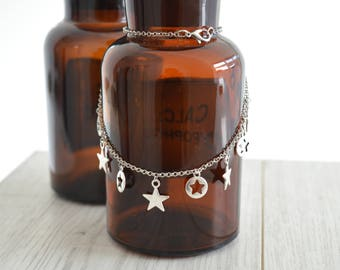Silver STAR chain choker necklace, Silver Star Charm Chain Necklace, Boho Bohemian Delicate Contemporary Necklace, Contemporary jewelry