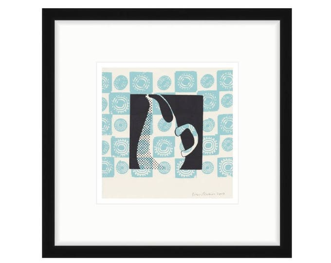Russel Wright Pitcher with Blue Motif. Framed digital print of original silkscreen. FREE SHIPPING, two frame options.