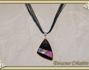 Black necklace multicolor triangular 103043