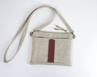 """Simply"" shoulder bag natural linen and leather"