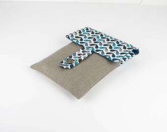 Pocket Book in natural linen and cotton blue graphic