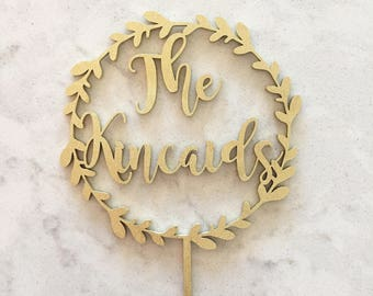 custom wreath cake topper / custom wedding cake topper / custom wood cake topper / wood acrylic Laser Cut Topper / custom cake topper