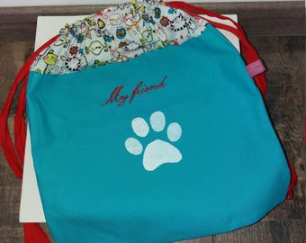 Blue and Red backpack boy or girl personalized on the theme of cats