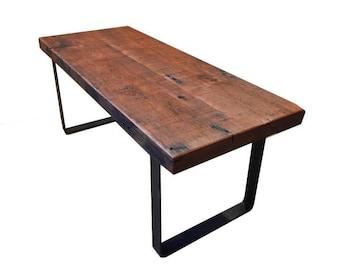 Reclaimed Douglas Fir Coffee Table // Flat Bar Steel Legs