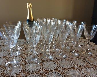 Vintage Cut crystal 8 oz crystalware stemware wine glasses or water goblets